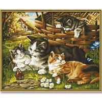 Кошка с котятами. Раскраска по номерам, 40 см х 50 см ...