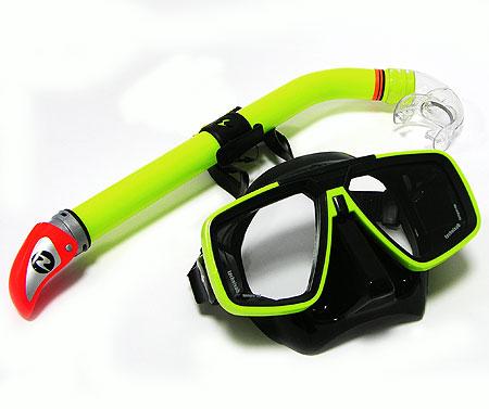 Набор для подводного плавания Technisub маска Look  трубка Mach Dry салатовый .