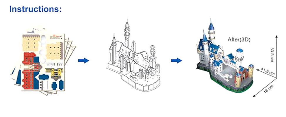 CubicFun Замок Нойшванштайн 98 элементов .