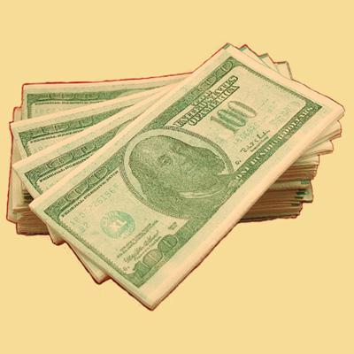 Салфетки Пачка 100 долларов .