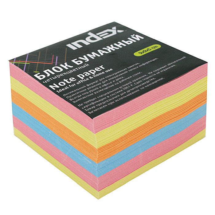 Бумага для записей многоцветная Index, 90х90х50 бумага для записей многоцветная index 90х90х90