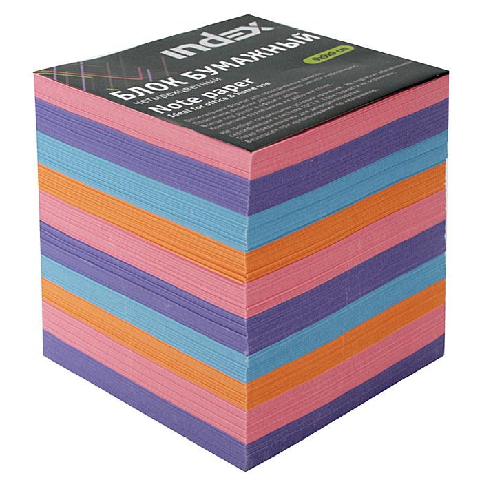 Бумага для записей многоцветная Index, 90х90х90 бумага для записей многоцветная index 90х90х90