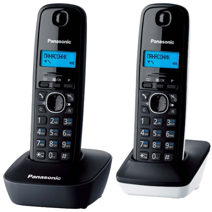 Радиотелефон Panasonic KX-TG1612RU1, черный, белый радиотелефон panasonic kx prx120ruw черный
