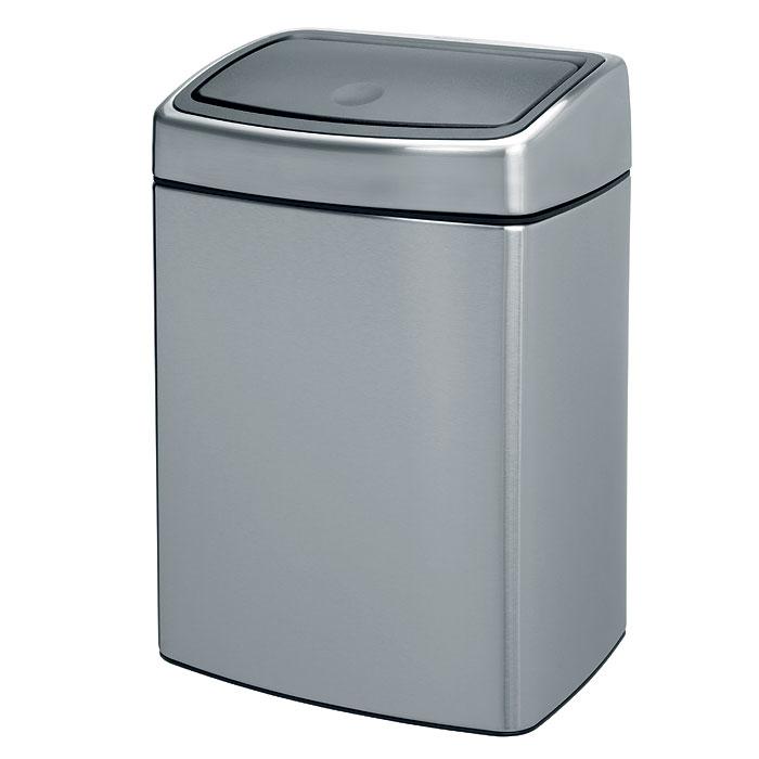 Бак мусорный Brabantia Touch Bin, прямоугольный, цвет: стальной матовый FPP, 10 л. 477225 ведро для мусора 10 л brabantia touch bin 477225 матовая сталь