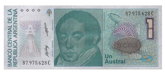 Банкнота номиналом 1 аустраль. Аргентина, 1985 год