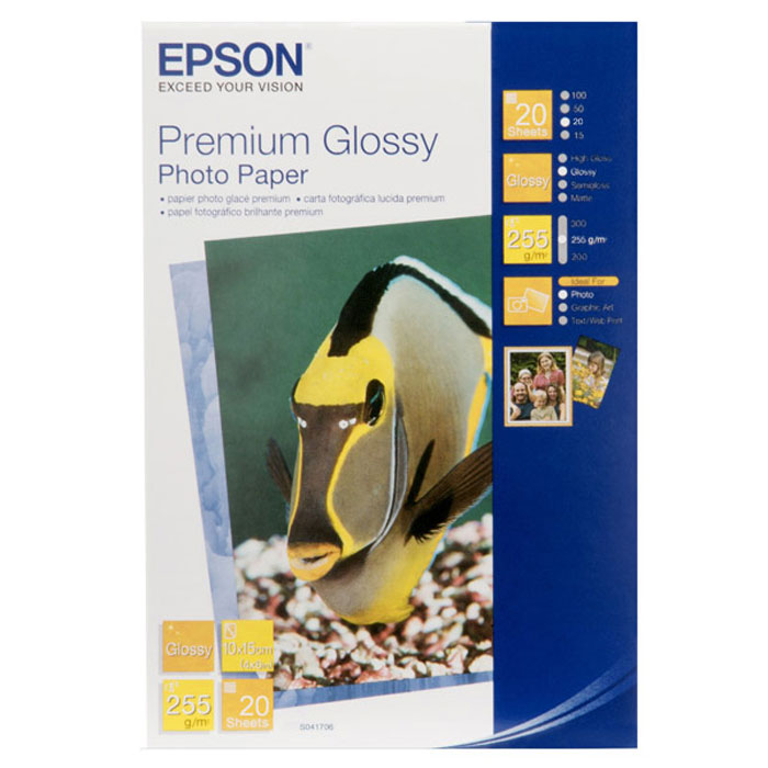 Фотобумага Epson Premium Glossy 255/10x15/20л (C13S041706) фотобумага epson value glossy photo paper 10x15 50 листов c13s400038
