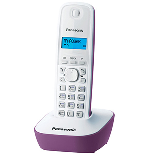 Радиотелефон Panasonic KX-TG1611RUF, фиолетовый panasonic kx tg1611rur dect phone digital cordless telephone wireless phone system home telephone