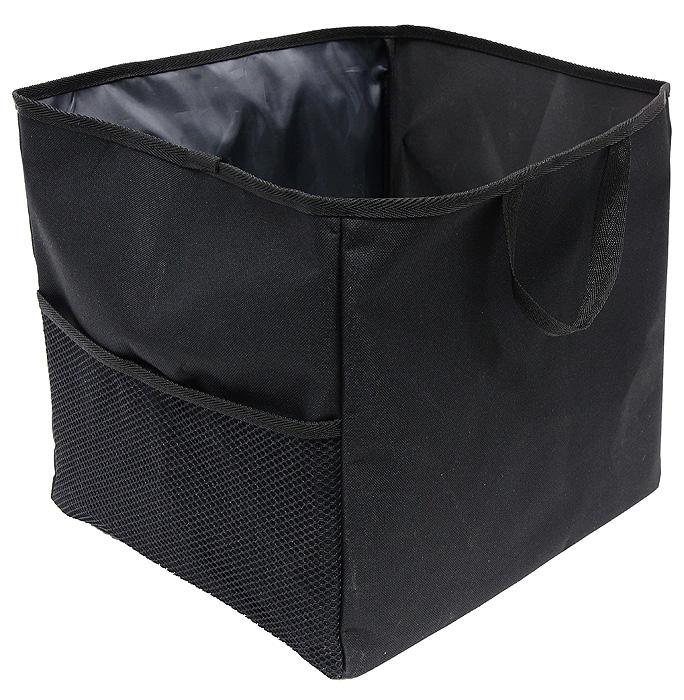 Сумка-органайзер в багажник Comfort Adress, складная, цвет: черныйbag 026Удобная сумка-органайзерComfort Adress, изготовленная из крепкой ткани, вместит в себя все, что разложено по углам багажника. Сумка имеет одно вместительное отделение. На внешней стороне расположен большой сетчатый карман, который отлично подойдет для удобного хранения инструментов. Вставки из плотного материала держат форму сумки-органайзера. На дне сумки пришиты липучки, препятствующие передвижение сумки по багажнику. Для удобной переноски сумки-органайзера имеются две ручки. Характеристики: Материал: непромокаемая ткань ПВХ 600D. Размер: 29 см х 35 см х 32 см. Цвет: черный. Рекомендуем!