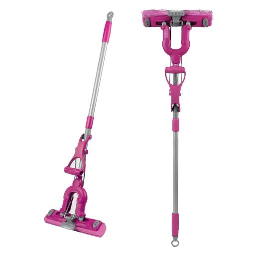 Швабра Loks Super Cleaning с насадкой PVA и дополнительной щеткой, цвет: розовый цена
