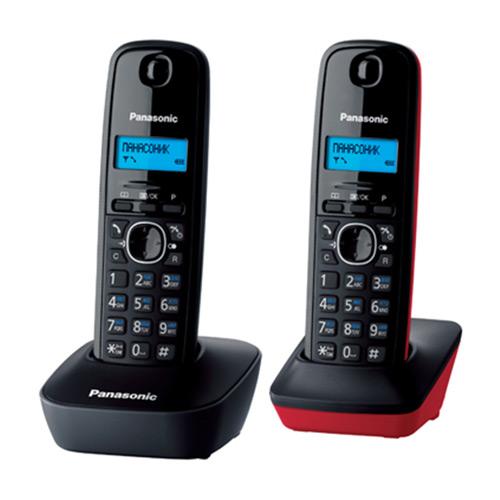 Радиотелефон Panasonic KX-TG1612RU3, черный, красный радиотелефон panasonic kx prx120ruw черный