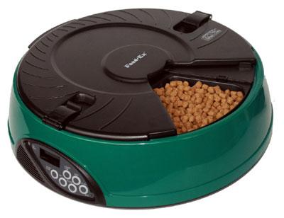 Автоматическая кормушка Feed-Ex, на 6 кормлений, цвет: зеленый кормушка автоматическая feed ex для сухого корма цвет черный 6 7 кг