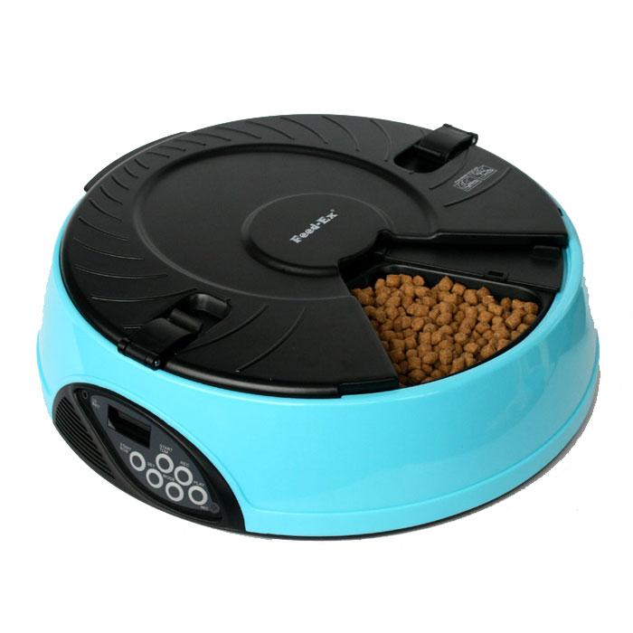 Автоматическая кормушка Feed-Ex, на 6 кормлений, цвет: голубой кормушка автоматическая feed ex для сухого корма цвет черный 6 7 кг