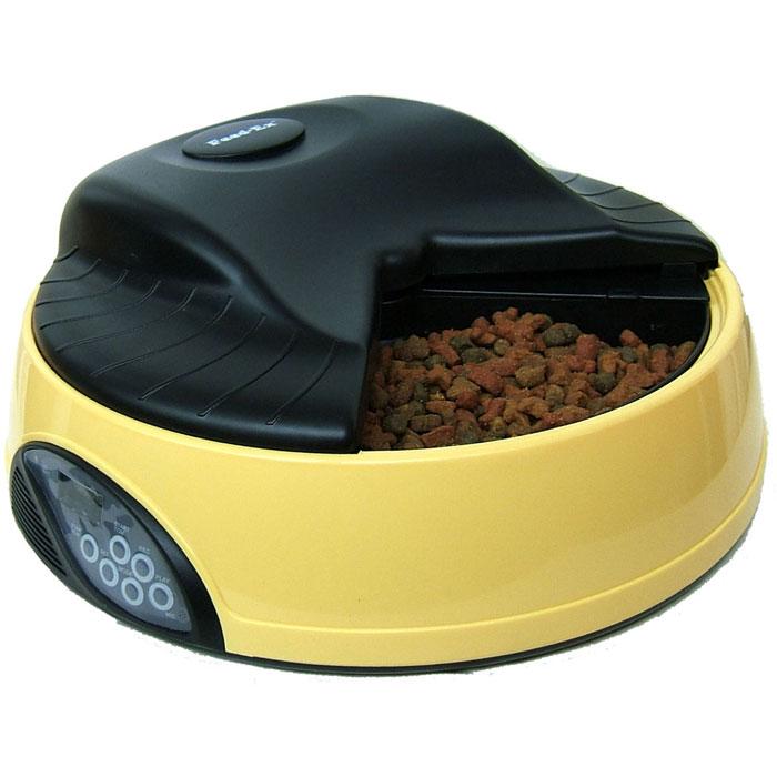 Автоматическая кормушка Feed-Ex, на 4 кормления, с емкостью для льда или воды, цвет: желтый кормушка автоматическая feed ex для сухого корма цвет черный 6 7 кг
