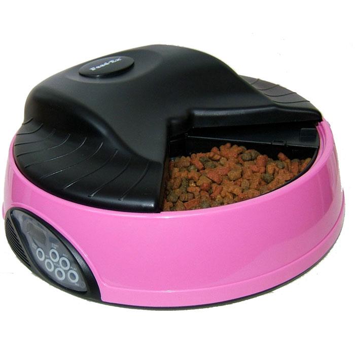 Автоматическая кормушка Feed-Ex, на 4 кормления, с емкостью для льда или воды, цвет: розовый кормушка автоматическая feed ex для сухого корма цвет черный 6 7 кг