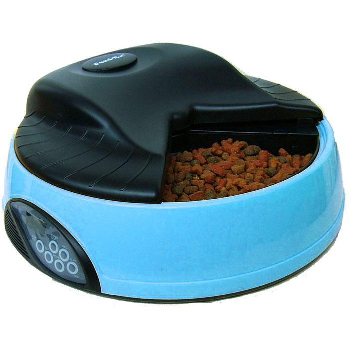 Автоматическая кормушка Feed-Ex, на 4 кормления, с емкостью для льда или воды, цвет: голубой кормушка автоматическая feed ex для сухого корма цвет черный 6 7 кг