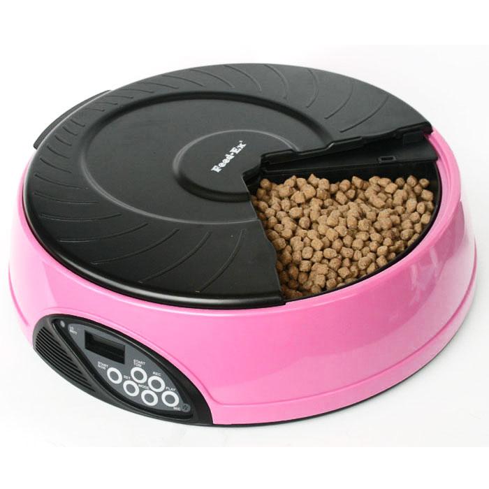Автоматическая кормушка Feed-Ex, на 4 кормления, цвет: розовый кормушка автоматическая feed ex для сухого корма цвет черный 6 7 кг