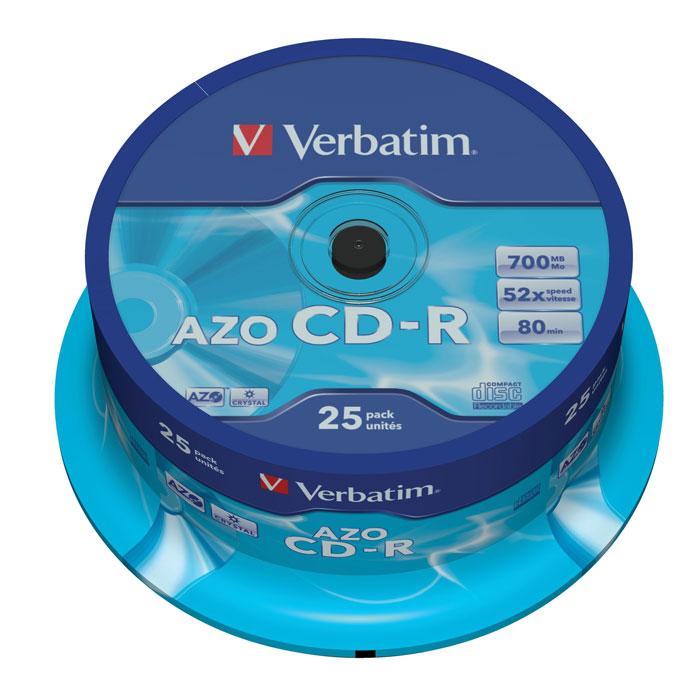 Verbatim CD-R 700 Mb 52x, 25шт, Cake Box (43352) диски cd r 700mb 52x cakebox 25шт crystal azo verbatim 43352