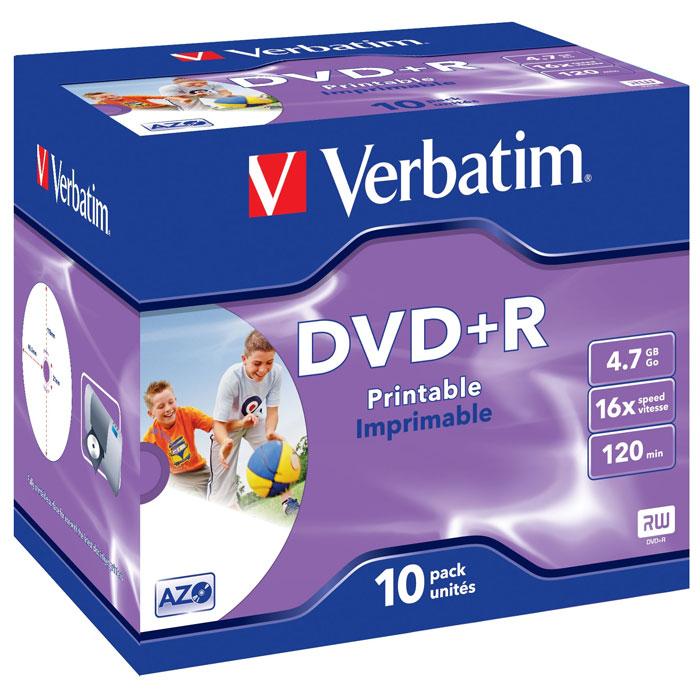 Verbatim DVD+R 4.7GB, 16x, 10шт, Jewel Case, Printable (43508) verbatim коврик verbatim pisa italy v4 p