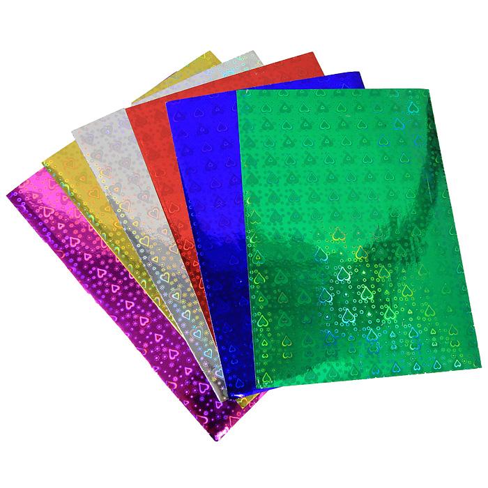 """Цветная голографическая бумага """"Fancy"""", 6 цветов"""