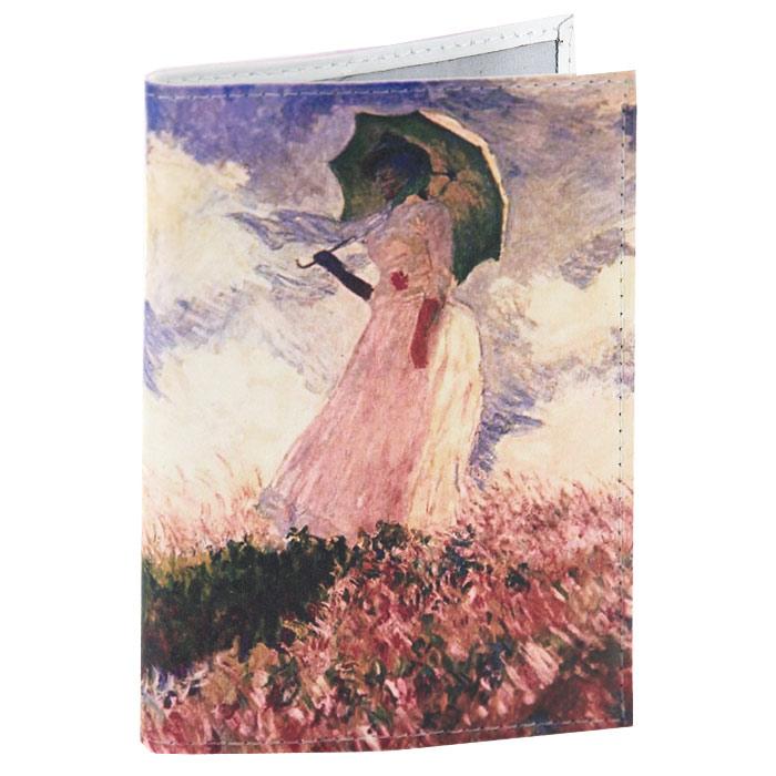 Обложка для паспорта Клод Моне - Дама с зонтиком. OK014 цена