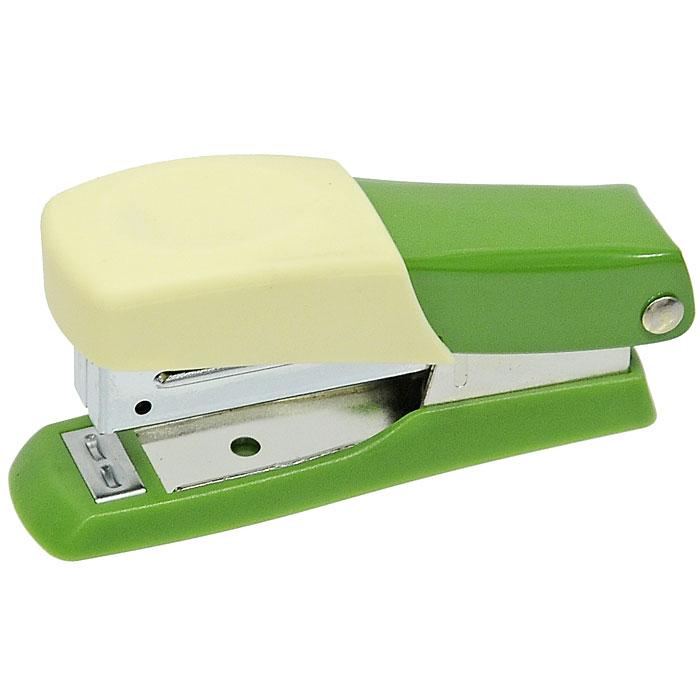 Мини-степлер Fusion, для скоб № 10, цвет: зеленый, желтый степлер index 20 листов