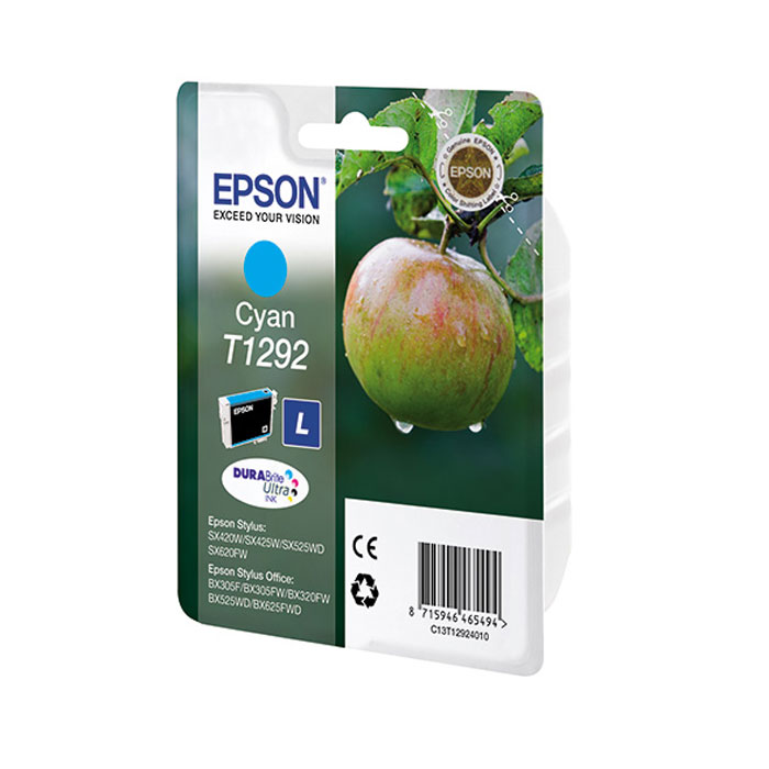 Картридж Epson T1292, голубой, для струйного принтера, оригинал картридж epson c13t596300
