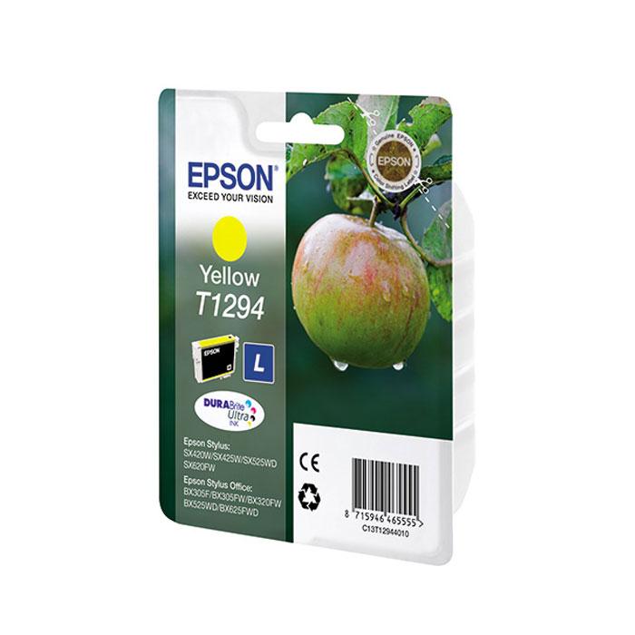 Картридж Epson T1294, желтый, для струйного принтера, оригинал