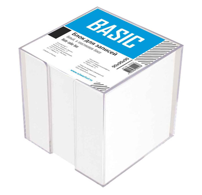 Блок для записей Basic, белый, в пластиковом боксе, 9 см x 9 см блок для записей тюмень 9 x 9 см 150 листов