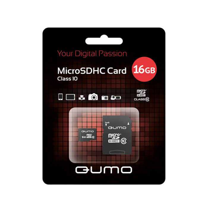 QUMO microSDHC Сlass 10 16GB карта памяти + адаптер