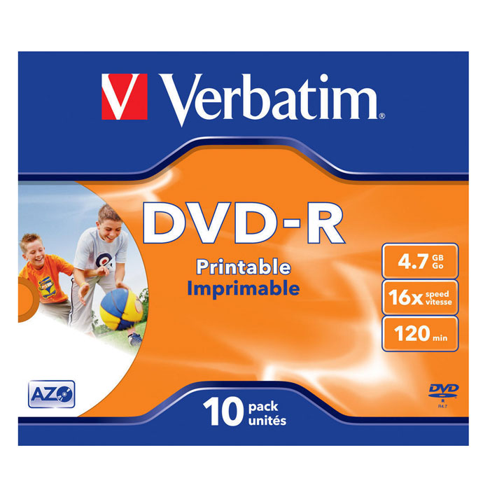 Verbatim DVD-R 4.7GB, 16x, 10шт, Jewel Case, Printable (43521) verbatim dvd r 4 7gb 16x 10шт jewel case printable 43508