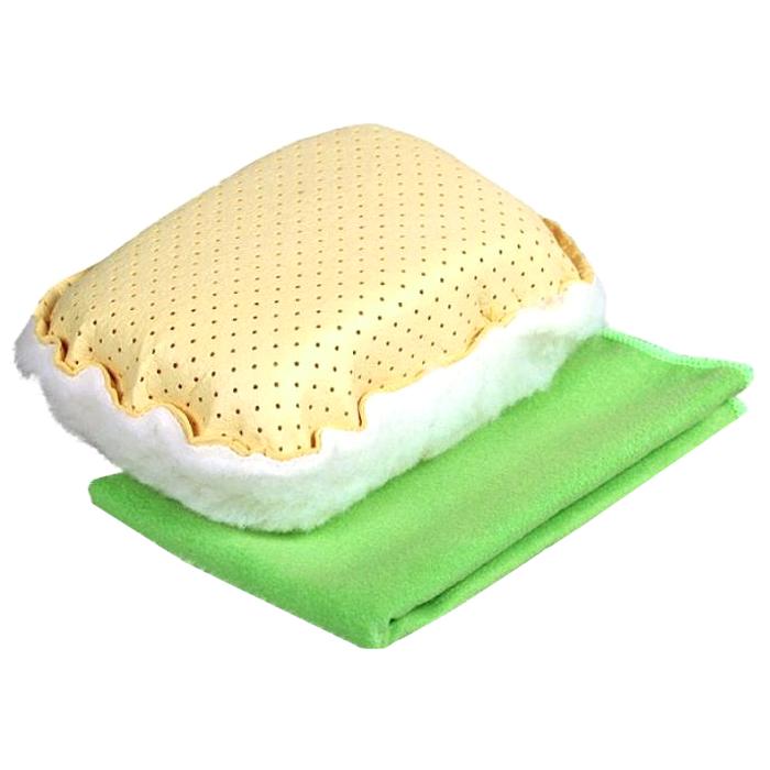 Набор для мытья и полировки автомобиля Pingo, цвет: желтый, салатовый, 2 предмета набор для ухода за стеклами автомобиля pingo 85034 1