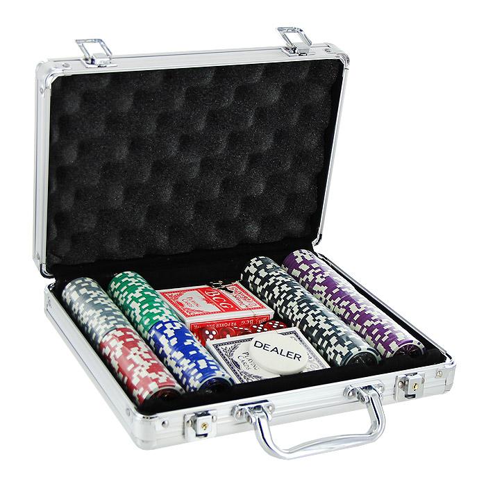 Набор для покера Perfecto в металлическом кейсе, размер: 29х20х6. DPC-200AL фишки для покера с номиналом 11 5 г 25 штук