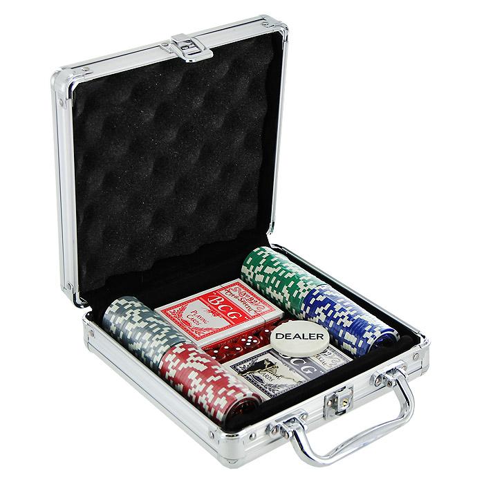 Набор для покера Perfecto в металлическом кейсе, размер: 20х20х6. DPC-100AL фишки для покера с номиналом 11 5 г 25 штук