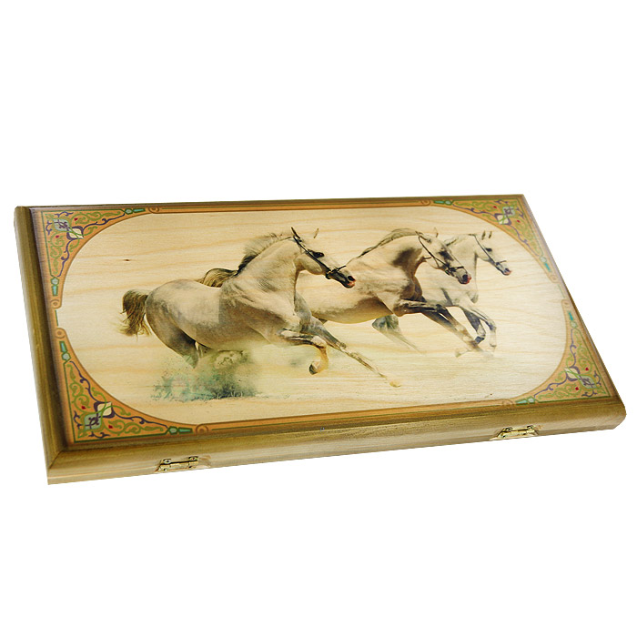 Нарды малые Perfecto Лошади, размер: 40х40х4 см. 064s