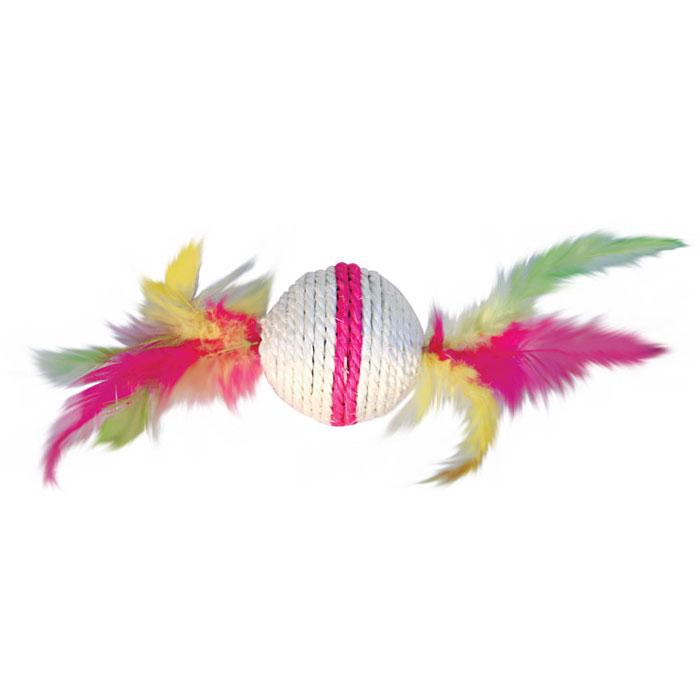 цена на Игрушка-когтеточка Triol Шарик с перьями, цвет: розовый, диаметр 6 см