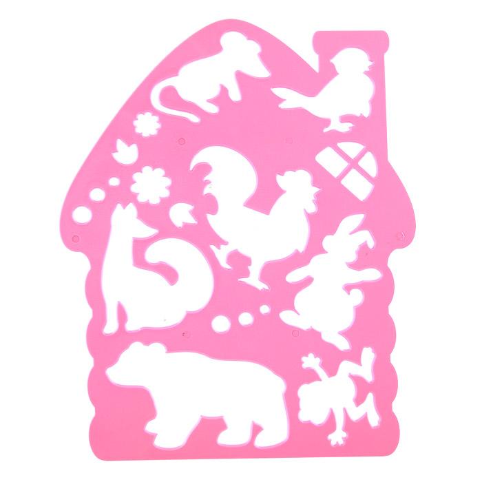 """Трафарет фигурный """"Теремок"""", цвет розовый"""
