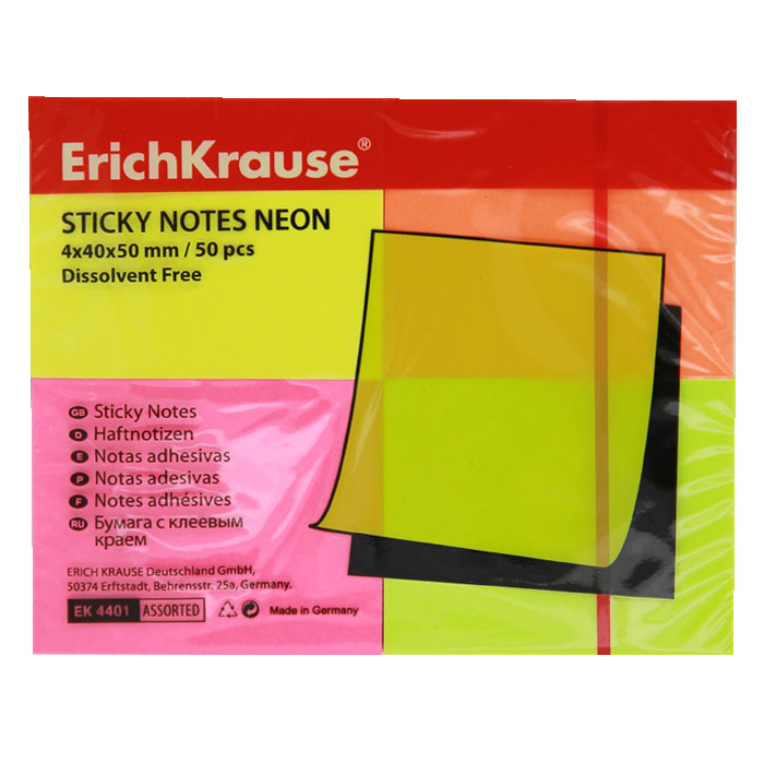 Бумага для заметок ErichKrause Neon, с клеевым краем, 40 х 50 мм, 200 листов, 4 цвета berlingo бумага для заметок с липким краем neon 7 6 х 5 1 см цвет зеленый 100 листов