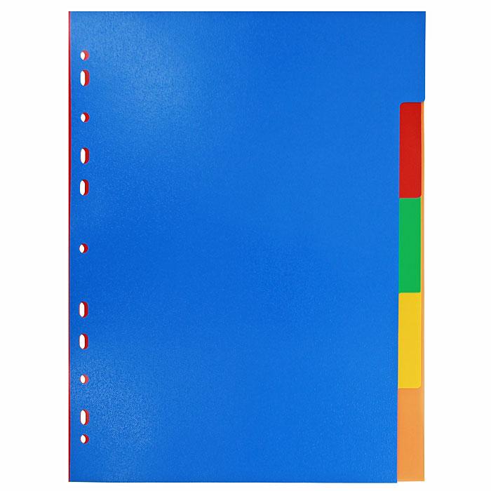 Разделитель листов ErichKrause, пластиковый, 5 листов, A4 разделитель цветовой erich krause 10 цветов формат а4