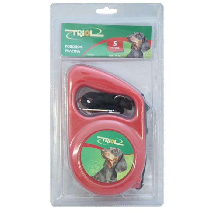 """Поводок-рулетка """"Triol"""", для собак до 25 кг, цвет в ассортименте, 5 м"""