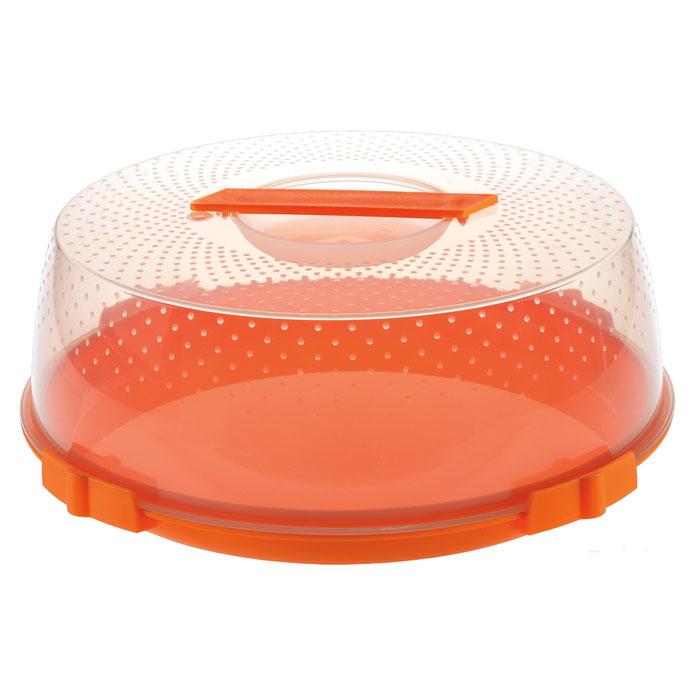 Тортница Cosmoplast Оазис цвет оранжевый прозрачный диаметр 32 см .