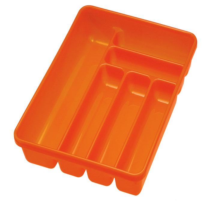 Лоток для столовых приборов Cosmoplast, 6 отделений, цвет: оранжевый