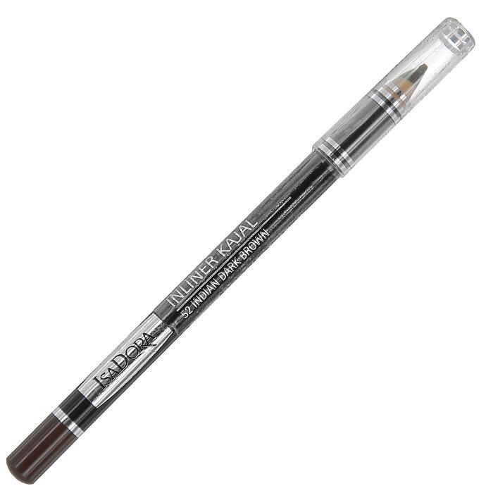 """Контурный карандаш для глаз Isa Dora """"Inliner Kajal"""", тон №52, цвет: индийский черно-коричневый, 1,3 г"""