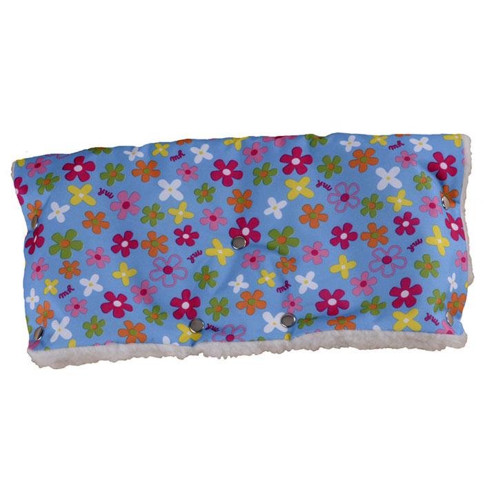 Муфта для рук на коляску Чудо-Чадо, меховая, цвет: голубой в цветочек муфта для рук еду еду раздельная на коляску плащевая ткань натуральный мех синтепон зима красный