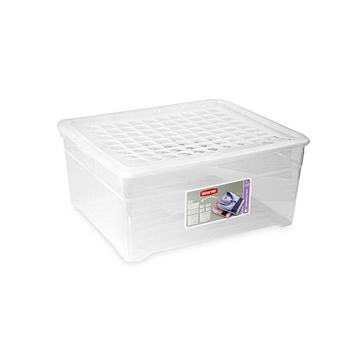 Контейнер для хранения Textile Line, цвет: прозрачный, 18,5 л03002Контейнер для хранения Textile Line, выполненный из прочного прозрачного пластика, предназначен для хранения различных вещей. Крышка легко открывается и плотно закрывается с помощью легкого щелчка. Контейнер поможет хранить все в одном месте, а также защитить вещи от пыли, грязи и влаги. Характеристики: Материал: пластик. Цвет: прозрачный. Объем: 18,5 л. Размер (Д х Ш х В): 39 см х 34 см х 18 см. Артикул: 03002.