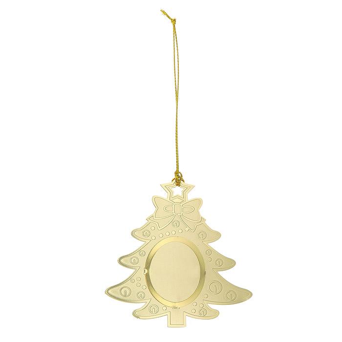 Новогоднее подвесное украшение Елочка, цвет: золотистый. 25108 украшение новогоднее елочка заснеженная цвет красный 14 5 см 35691