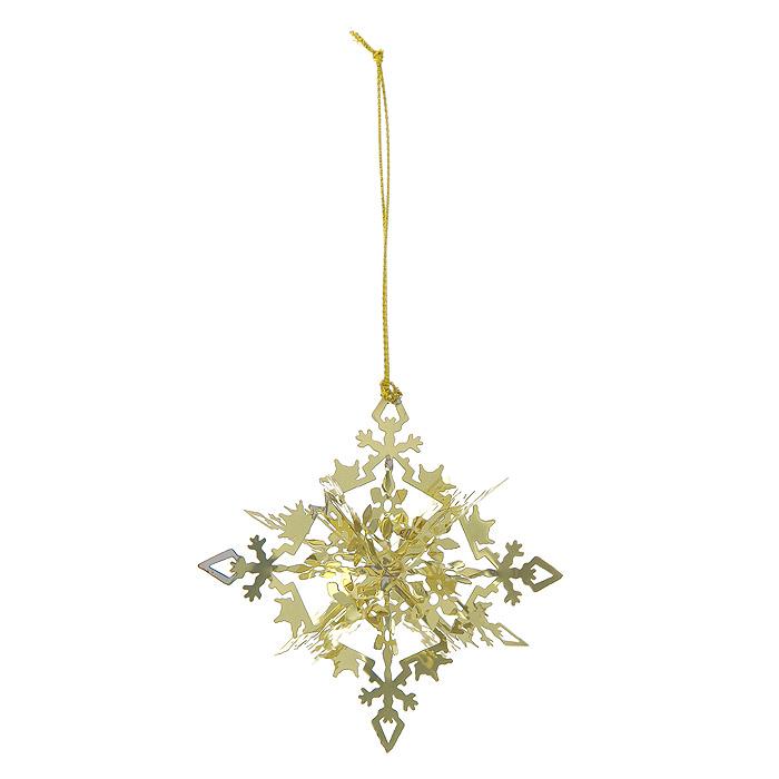 Новогоднее подвесное украшение Снежинка, цвет: золотистый. 25102 новогоднее подвесное украшение снежинка цвет золотистый 25102