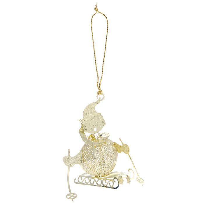 """Новогоднее подвесное украшение """"Снеговик на санках"""", цвет: золотистый. 25077"""