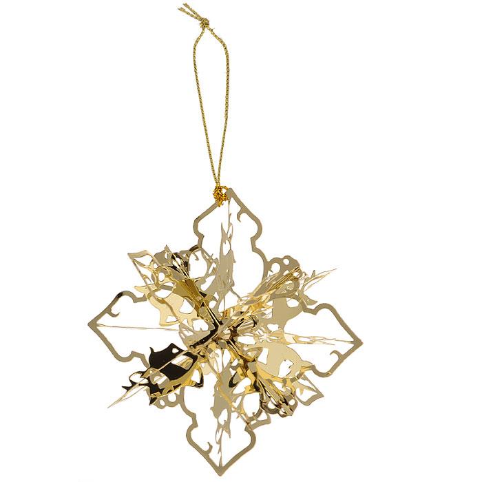 Новогоднее подвесное украшение Снежинка, цвет: золотистый. 25105 украшение новогоднее подвесное феникс презент карабас барабас 3 5 x 3 5 x 8 5 см