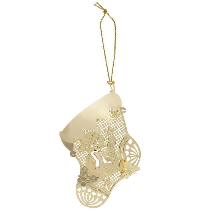 Новогоднее подвесное украшение Феникс-Презент Носок, цвет: золотистый. 25055 новогоднее подвесное украшение лягушка цвет золотистый желтый ф21 1711