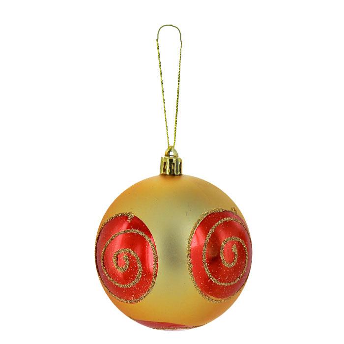 Набор подвесных новогодних украшений Шары, цвет: золотистый, красный, 6 шт. 26270 антон чехов чужая беда